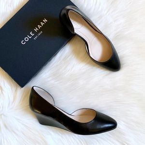 Cole Haan Shoes - Cole Haan Black Leather Edith Closed Toe Wedge